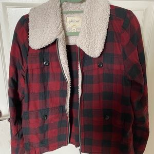 White Crown Fleece Collar Plaid Jacket